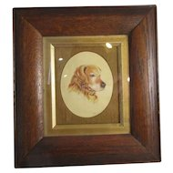 A Portrait Miniature Of A labrador Dog Vintage Signed