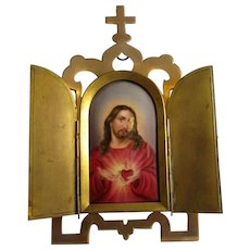 Ecclesiastical Hand Painted Jesus Portrait In Antique brass Two Door Frame c1880