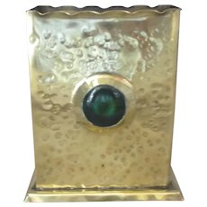 Brass Arts & Crafts Postcard Box With Green Ceramic Cabochons Antique Victorian c.1880.