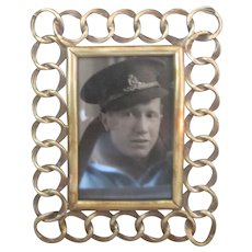 Brass Ring Easel Photo Frame Antique Victorian c.1890.
