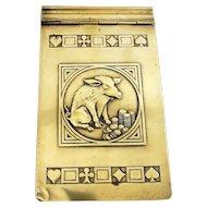 Brass Art Nouveau 'Greedy Pig' Bridge Games Notebook Cover Antique c1890