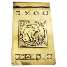 Brass Art Nouveau 'Greedy Pig' Bridge Games Notebook Cover Antique c1890