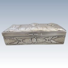 English Sterling Silver Trinket Box Decorated With Cherubs London 1905 by William Comyns