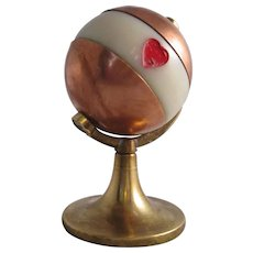 Copper And Brass Miniature Globe Trumps Marker Antique c1890