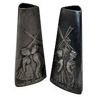 Pair Antique Arts & Crafts Pewter WMF Dutch Scene Vases c.1900