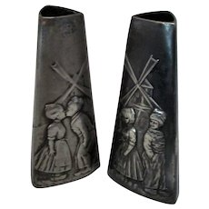 Pair Antique Arts & Crafts Pewter WMF Dutch Scene Vases c.1900
