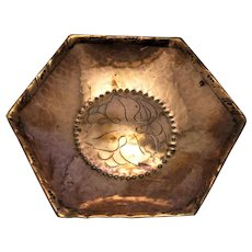 Copper Hexagonal Dish By Hugh Wallis Antique Arts & Crafts