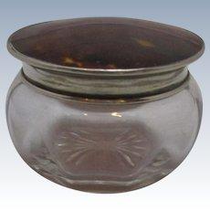 Cut Glass Jar With Silver Tortoiseshell Top C1923