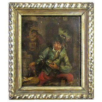 Antique 19th Century Small Dutch School Oil on Tin Painting of Men in a Tavern