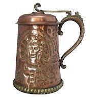 Copper & Brass Arts & Crafts Tankard Antique Victorian c.1880.