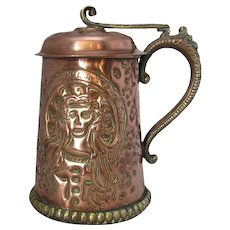 Copper & Brass Arts & Crafts Tankard Antique Victorian c.1880.