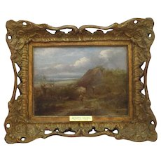 Oil On Canvas Painting Attributed To Joseph Thors Antique c1890.