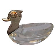 Continental Silver And Glass Duck Salt Vintage.