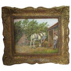 Framed John Munnings Oil On Canvas To Board Painting 'Blacksmiths'.