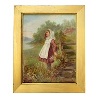 Small Antique Victorian Oil on Board  of Young Girl Picking Flowers.