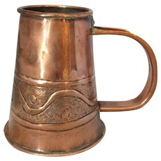Small Arts & Crafts Copper Hand Beaten Jug Antique c1890.