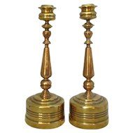 Pair of Heavy Brass Gothic Revival Candlesticks Antique Victorian c.1880.