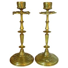 Antique Pair Cast Brass Candlesticks with Beetle Design c1900.