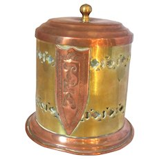 Antique Small Arts & Crafts Copper and Brass Tea Canister c1900.