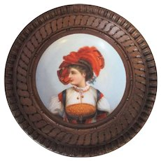 Small Antique Victorian Framed Continental Porcelain Painted Wall Plaque c1880s.