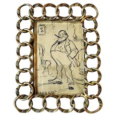 Small Antique Victorian Brass Ring Photo Frame.