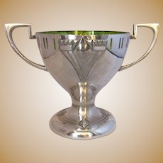 Silver Plate And Glass Art Nouveau Bowl Or Trophy Vintage 20th Century.