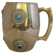 Brass & Cabochon Arts & Crafts Style Tankard Vintage 20th Century.