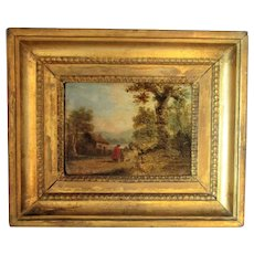Small Antique Landscape Oil on Board Follower of George Morland Early 19th Century.