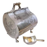Antique Victorian Silver Plated Novelty Sugar Scuttle and Shovel c1870s.