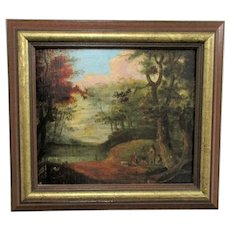 Antique Victorian Oil on Board Wooded Landscape and People around a Campfire.