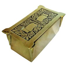 Small Antique Arts & Crafts Brass Trinket Box c1880.