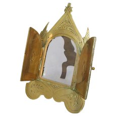 Small Antique Victorian Gothic Revival Two Door Brass Photo Frame c1880s.