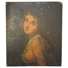 Antique 19th Century Oil on Board of Classical Girl.