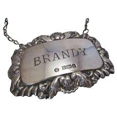 Vintage Sterling Silver Decanter label- Brandy.