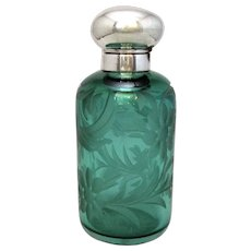 Sterling Silver And Green Glass Scent Bottle Hallmarked Birmingham 2002.