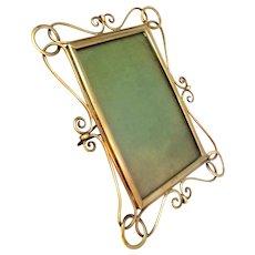 Antique Art Nouveau Brass Wire Photograph Frame c1905.