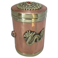 Antique Arts & Crafts Copper & Brass Tea Canister Box c1900.