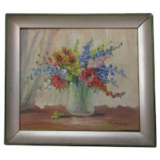 Vintage Miniature Oil Painting on Board of Flowers c1920s.