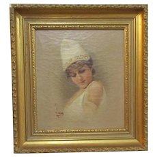 Framed Antique Victorian Oil on Canvas Portrait by M Lucas c1870.