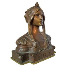 Small Bronze Paperweight Bust of Classical Maiden Vintage.