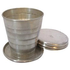 Antique Silver Plated Collapsible Travel Cup c1910.