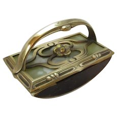 Antique Art Nouveau Brass & Onyx Ink Blotter c1905.