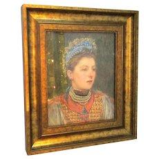 Framed Watercolour Portrait of a Lady Antique c1860s.