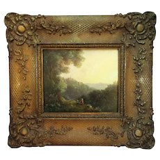 Small Antique Framed Landscape Oil on Board William Gill English 1843.