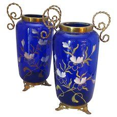 Pair Antique Victorian Bristol Blue Glass & Gilt Mount Vases c1890.