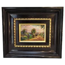 Vintage Framed Limoges Plaque of Country Scene.