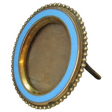 Small Antique Victorian Brass & Enamel Photo Frame by Rodrigues of London c1880.