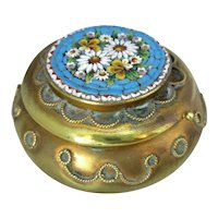 Brass Pill Box with Micromosaic Lid Antique Victorian.