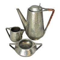 British Hammered Pewter Tea Set Vintage 20th Century.