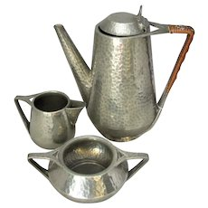 British Hammered Pewter Tea Set Vintage 20th Century.